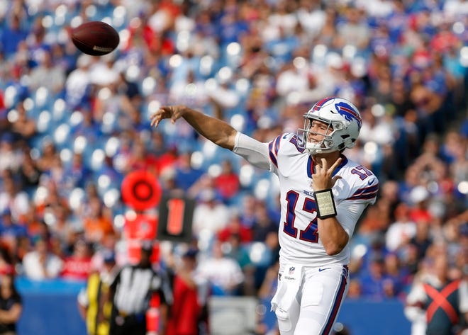 Aug 26, 2018; Orchard Park, NY, USA; Buffalo Bills quarterback Josh Allen (17) throws a pass during the first half against the Cincinnati Bengals at New Era Field. Mandatory Credit: Timothy T. Ludwig-USA TODAY Sports