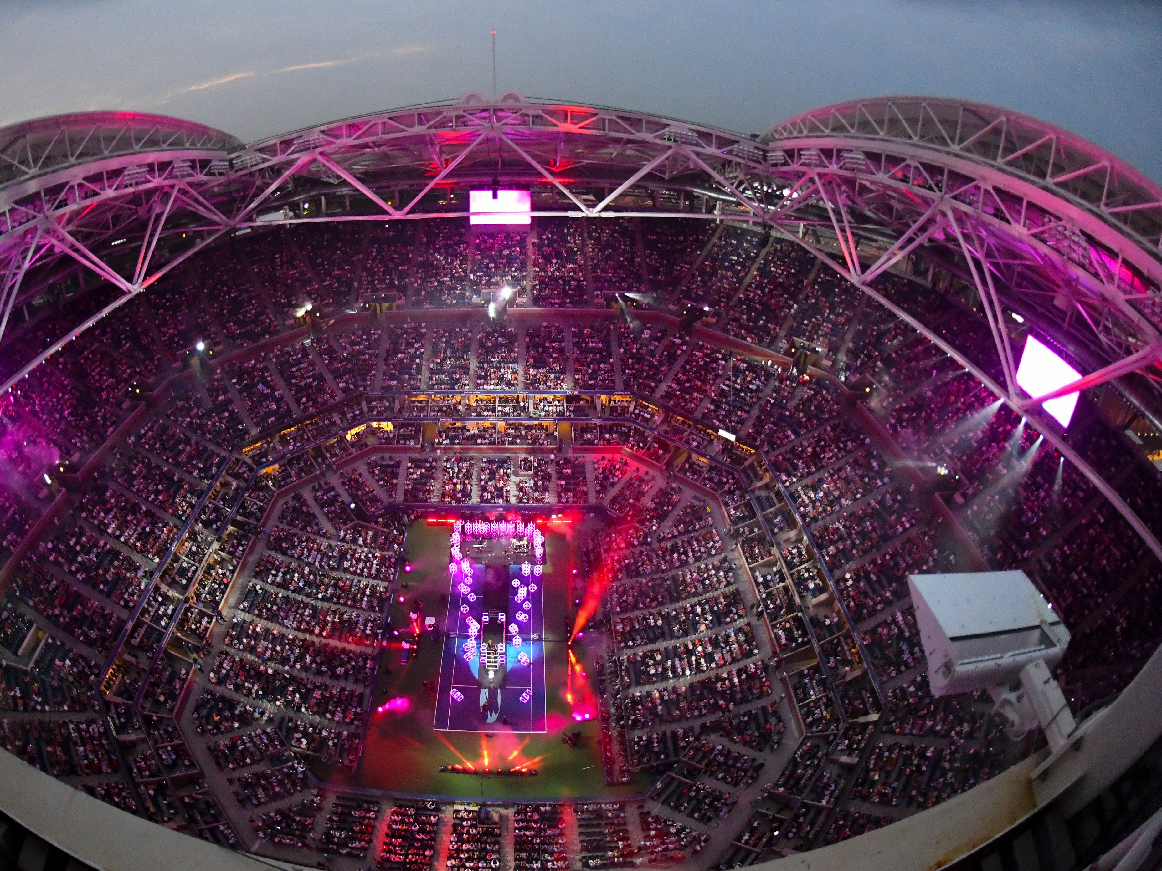 The opening ceremony in Arthur Ashe Stadium.