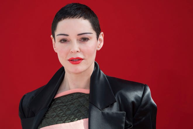 Rose McGowan poses before a fashion show in Paris, March 3, 2018.