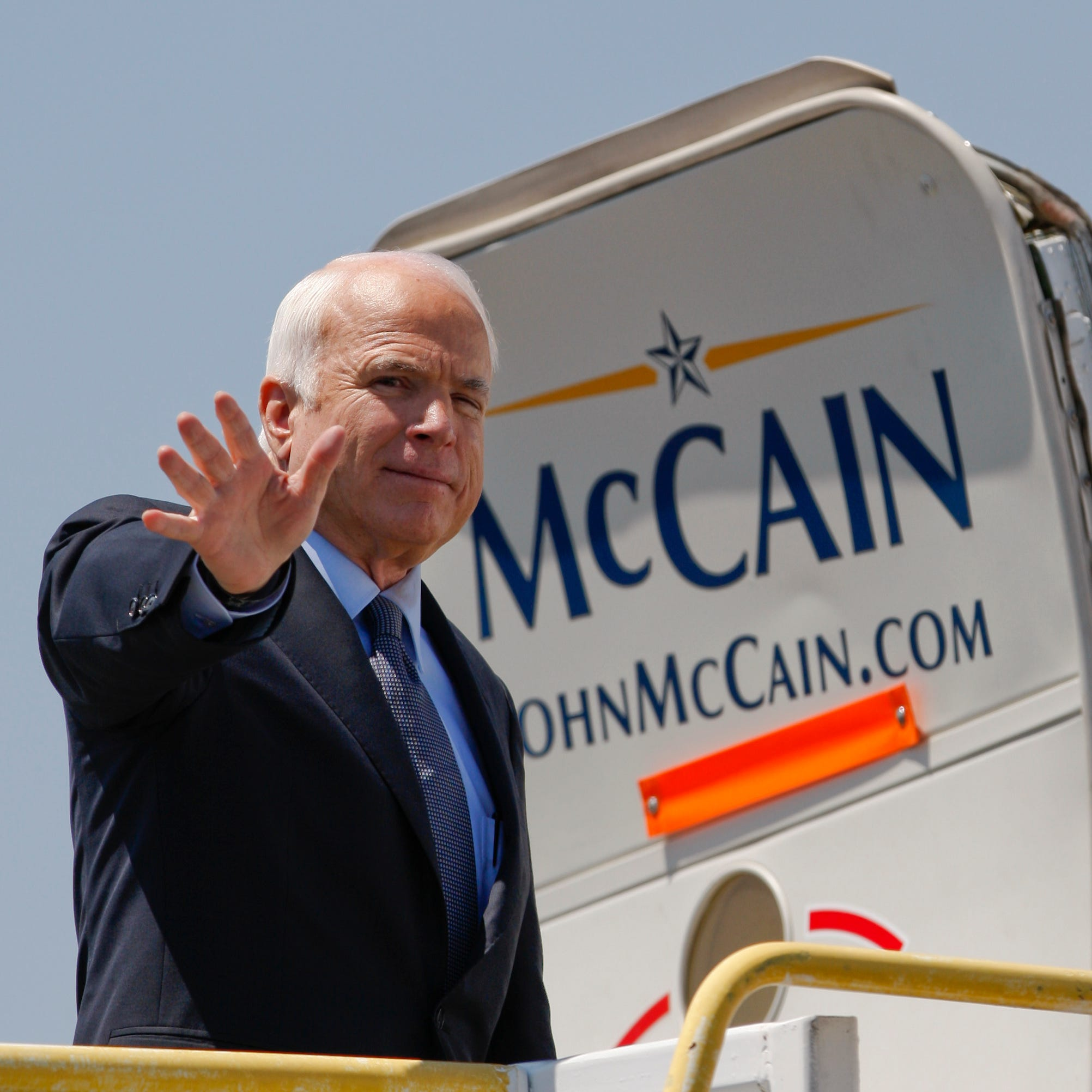 This photo from Aug. 20, 2008, shows then-Republican presidential candidate, Sen. John McCain (R-Arizona) waving as he departs from the El Paso International Airport.