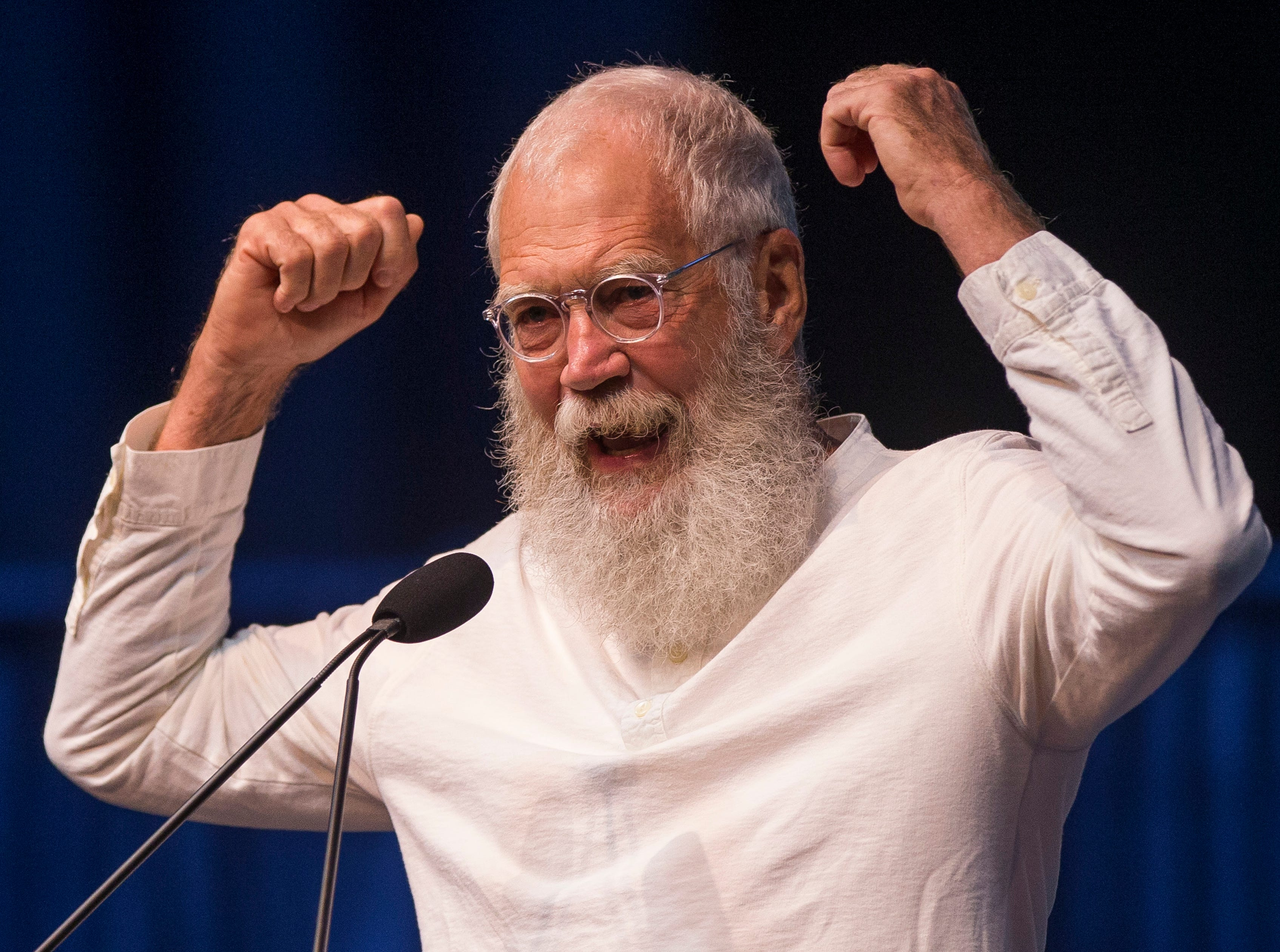 Former late night television host David Letterman speaks during the opening ceremony event for the Jimmy & Rosalynn Carter Work Project on Sunday, Aug. 26, 2018, inside the University of Notre Dame's Purcell Pavilion in South Bend, Ind.
