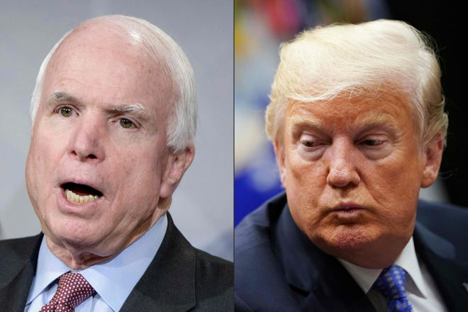 This combination of pictures created on Aug. 24, 2018, shows Sen. John McCain and President Donald Trump.