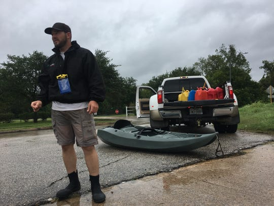 Brett Scherer prepares to re-enter a West Houston neighborhood on Aug. 29, 2017. Scherer took part in mass rescues that helped thousands of residents flee flooded homes during Hurricane Harvey.
