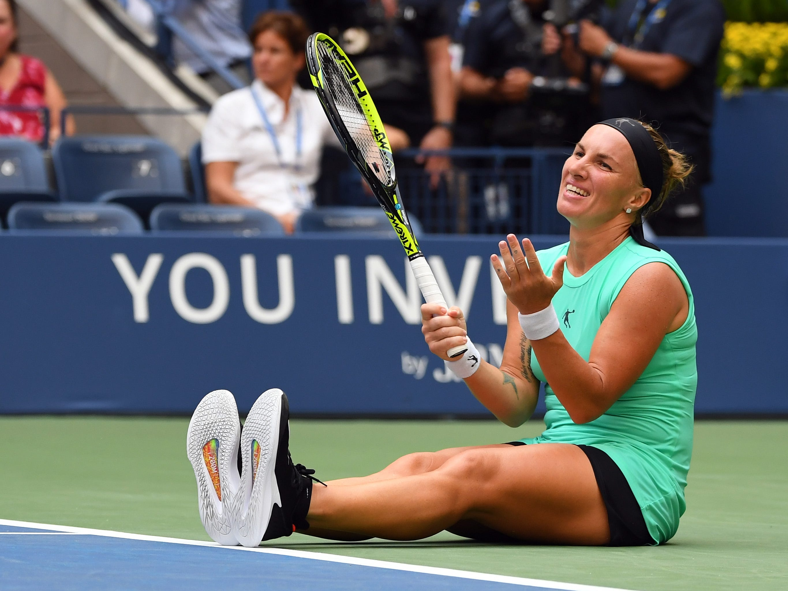 Svetlana Kuznetsova after missing a shot against Venus Williams.