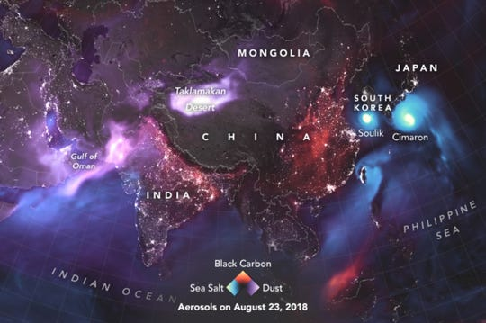 A NASA visualization shows aerosol related events around the world on August 23.