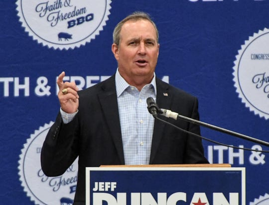 U.S. Rep. Jeff Duncan of South Carolina speaks during the Faith and Freedom barbecue fundraiser at the Civic Center of Anderson on Monday.
