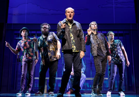 """Paul Whitty leads the cast in """"Life Without Parole"""" during the Broadway musical """"Gettin' the Band Back Together."""""""