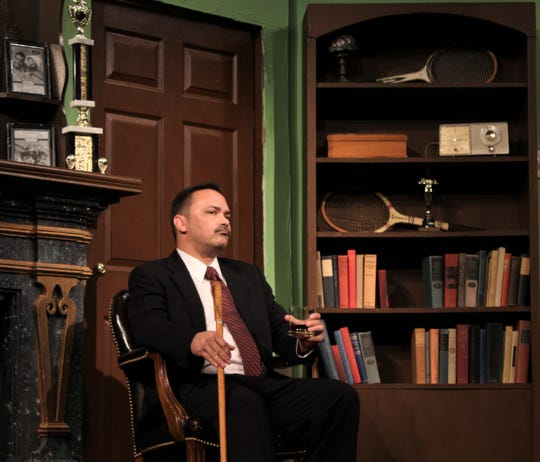 """Tony Wendice (Aaron Schutter) considers his next move to force an old acquaintance named Lesgate to commit to murdering Wendice's wife in this rehearsal scene from """"Dial M For Murder,"""" Abilene Community Theatre's first 2018-19 production."""
