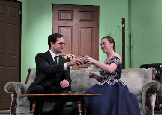 """American writer Max Halliday (Matt Maslanka), who is visiting London, reunites with Margot Wendice (CC Goad), with whom he had an affair, in this rehearsal scene from """"Dial M For Murder."""" When two go out to a theater show, Margot's husband puts in motion a plot to kill her."""