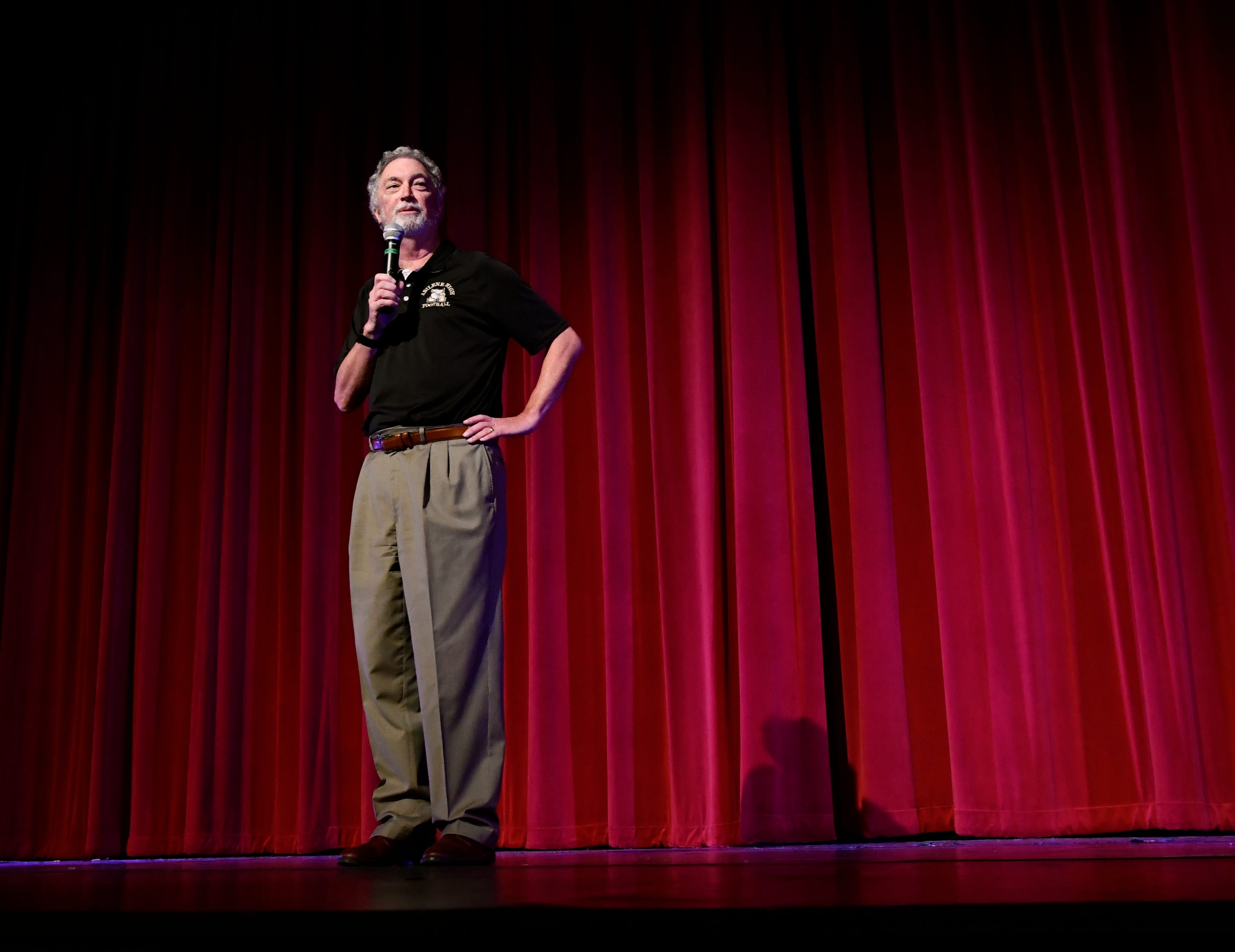 """Al Pickett, former sports editor for the Abilene Reporter-News, speaks during a preview July 27 for the film, """"Brother's Keeper,"""" at the Paramount Theatre. The movie is based on his book about the 2009 Abilene High School championship football season."""