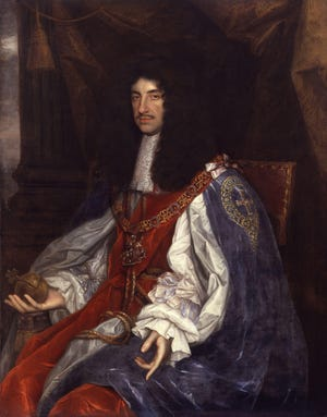 """""""Portrait of Charles II in Garter Robes"""" by John Michael Wright, circa 1663, when the king gave the Lords Proprietors the Province of Carolina. Painting held by National Portrait Gallery, London."""