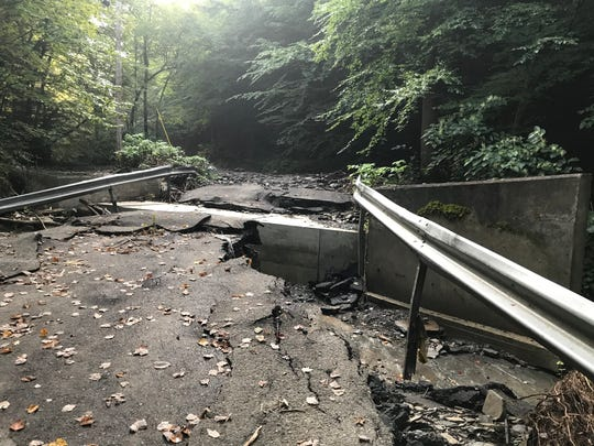 Flood damage to Hiner Rd. in Binghamton.