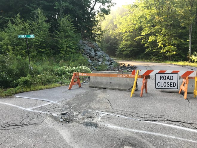 Road closure  signs at the intersection of Hiner Rd. and Fairview Ave. in Binghamton.