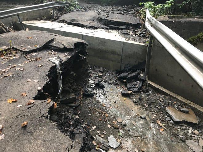 Flood damage to Hiner Rd. in Binghamton.