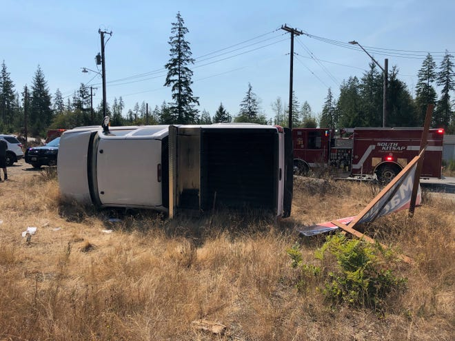 Washington State Patrol provided this photo of a vehicle collision Tuesday afternoon near the Highway 3 and Lake Flora Road intersection.