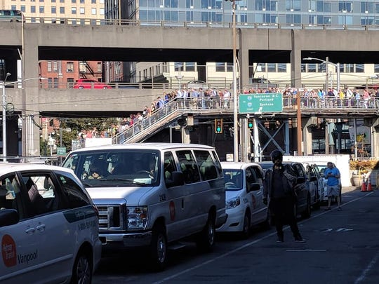 A power outage at Colman Dock on Monday meant long lines and delays.