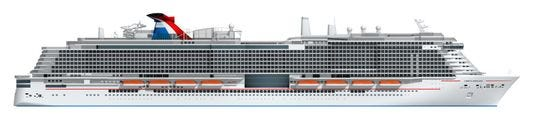 This is an artist's rendering of the Carnival Cruise Line ship that will based at Port Canaveral starting in 2020. The still-unnamed ship will be powered by liquefied natural gas. It will have a double-occupancy capacity of 5,286, based on double-occupancy of its cabins, and a full capacity of 6,500.