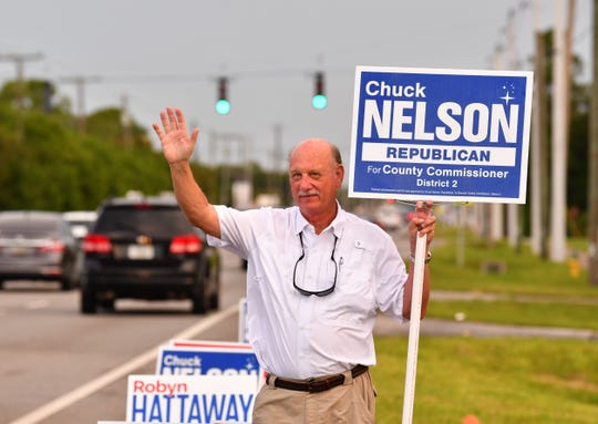 Republican District 2 County Commission candidate Chuck Nelson was in front of the polling place at River of Life Assembly of God Church on Merriitt Island on Tuesday morning.