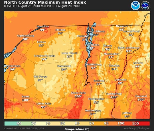 High heat and humidity are expected to result in perceived temperatures (heat indices) of up to 100 degrees on Tuesday in the Champlain Valley region, according to the National Weather Service on Aug. 28, 2018.