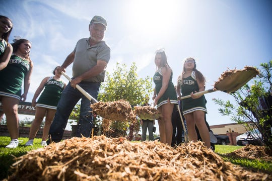 Fulton Mayor Jimmy Kendrick  helps plants trees following educational seminar on urban trees Tuesday, Aug. 28, 2018 at Rockport-Fulton Middle School.  TXU Energy donated 40 trees to Aransas County ISD for the anniversary of Hurricane Harvey.