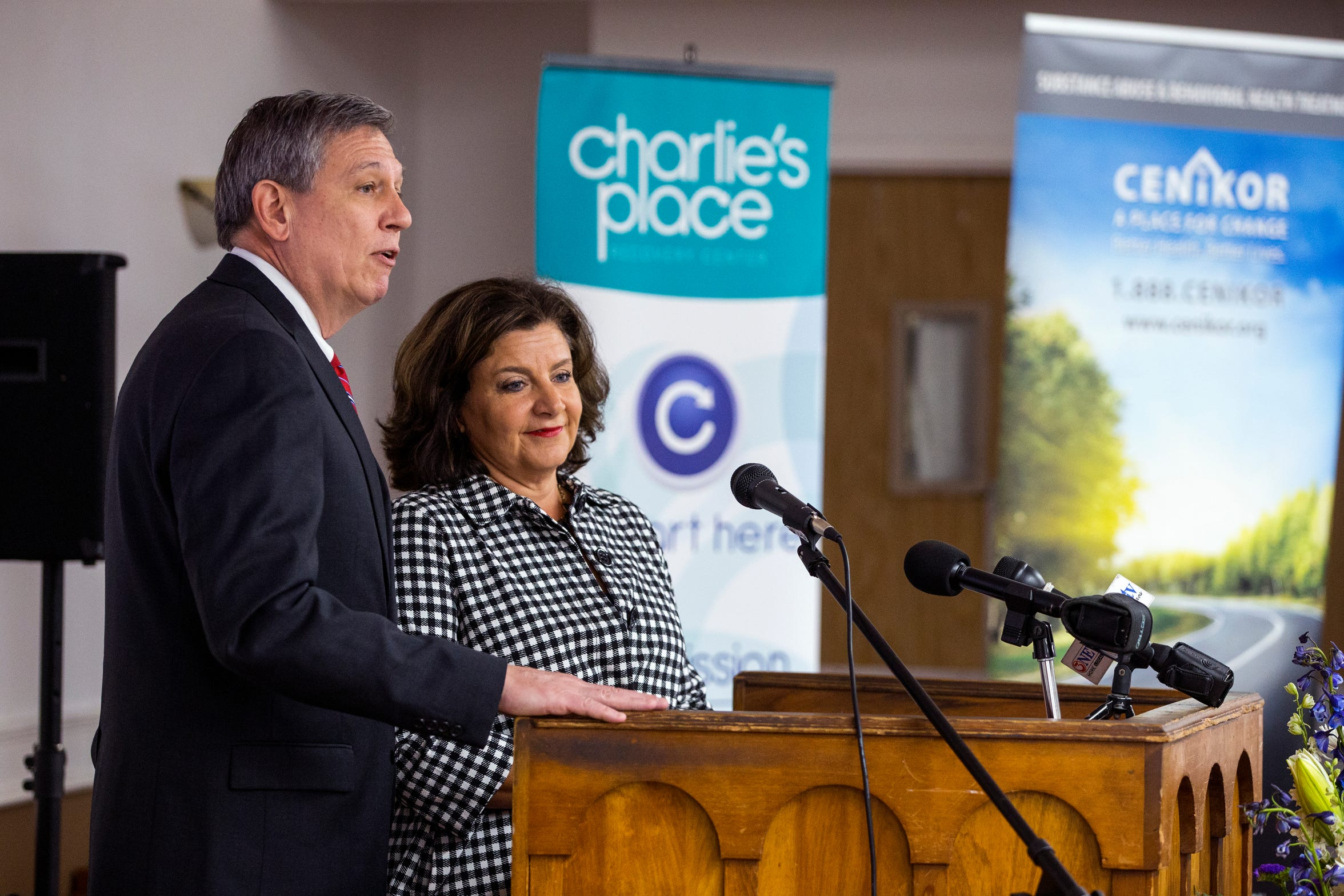 Bill Bailey, President and CEO of Cenikor Foundation and Amy Granberry, CEO of Charlie's Place Recovery Center, speak about the joining of Charlie's Place with Cenikor Foundation, a non-profit, substance use and behavioral health treatment program based in Houston during a celebration announcement on Tuesday, August 28, 2018. Cenikor Foundation offers services such as a two-year, therapeutic community treatment program and prevention programs for students as well as a pregnant and postpartum intervention program.