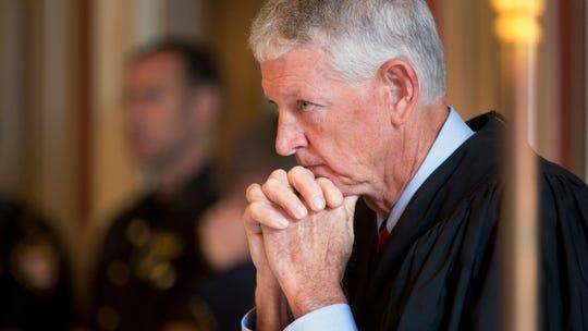 Hamilton Common Pleas Judge Patrick Dinkelacker at an August 2018 court hearing.