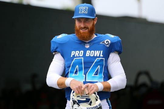 Los Angeles Rams Jake McQuaide (44) against the AFC in the 2018 NFL Pro Bowl at Camping World Stadium on Jan. 28, 2018.