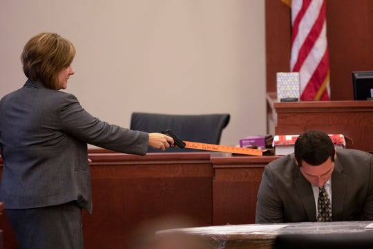Michelle Snodgrass, lead prosecutor, delivers a closing argument in the retrial of Shayna Hubers on Aug. 28, 2018.