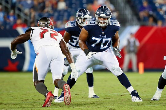 Elijah Nkansah #70 of the Tennessee Titans plays during a pre-season game against the Tampa Bay Buccaneers at Nissan Stadium on August 18, 2018 in Nashville, Tennessee.