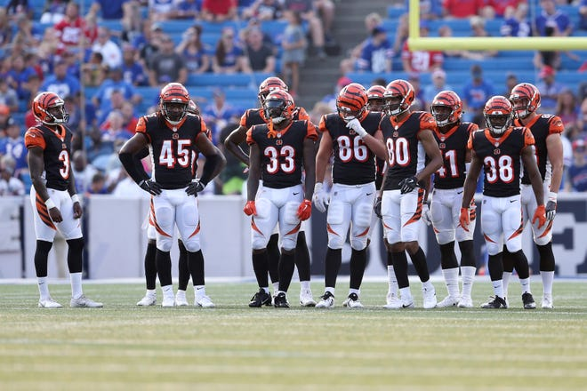 Cincinnati Bengals kicker Jon Brown (3), left, and the kickoff unit gets set for a play in the third quarter during the Week 3 NFL preseason game between the Cincinnati Bengals and the Buffalo Bills, Sunday, Aug. 26, 2018, at New Era Stadium in Orchard Park, New York.