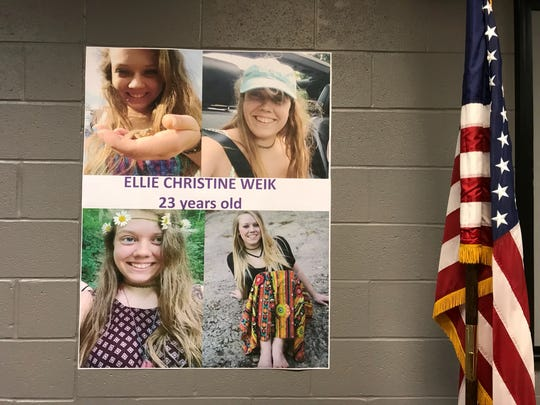 "Ellen ""Ellie"" Weik photos displayed at the West Chester Township Police Department during a Monday afternoon news conference."