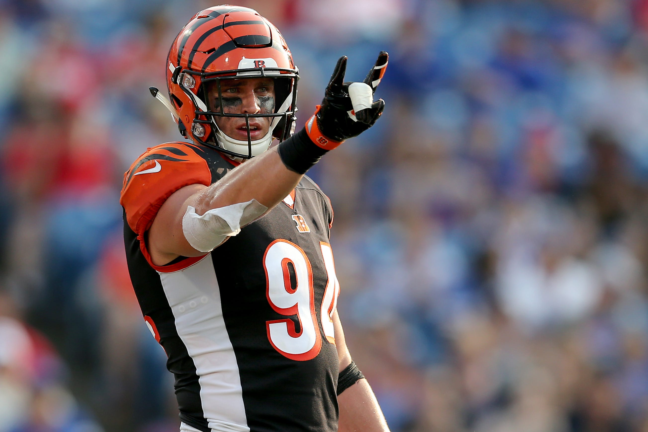 Cincinnati Bengals defensive end Sam Hubbard (94) gestures toward the sideline in the third quarter during the Week 3 NFL preseason game between the Cincinnati Bengals and the Buffalo Bills, Sunday, Aug. 26, 2018, at New Era Stadium in Orchard Park, New York.