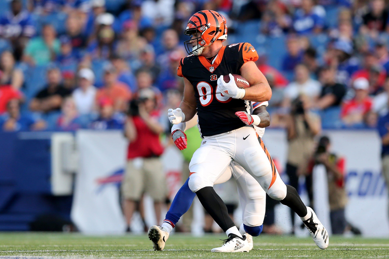 Cincinnati Bengals tight end Mason Schreck (86) turns after a reception third quarter during the Week 3 NFL preseason game between the Cincinnati Bengals and the Buffalo Bills, Sunday, Aug. 26, 2018, at New Era Stadium in Orchard Park, New York.