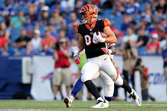 Cincinnati Bengals tight end Mason Schreck (86) turns after a reception third quarter during the Week 3 NFL preseason game between the Cincinnati Bengals and the Buffalo Bills, Sunday, Aug. 26, 2018, at New Era Stadium in Orchard Park, New York.