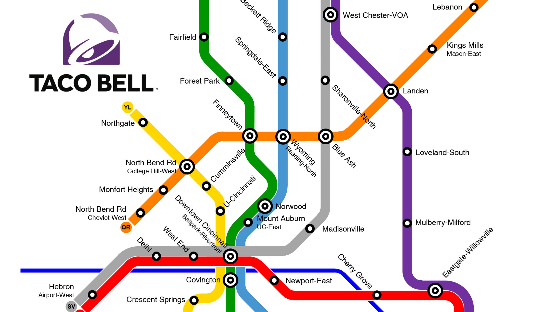 Cincinnati Subway Map.Reddit User Maps Taco Bell Transit System Of Cincinnati Northern