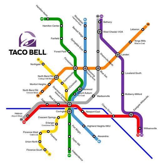 Reddit user maps Taco Bell transit system of Cincinnati, Northern ...
