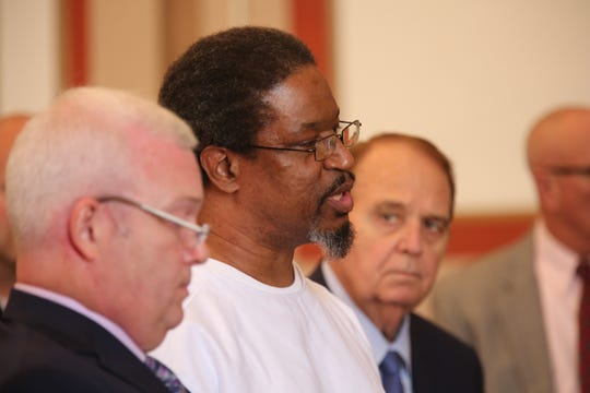 Serial killer Anthony Kirkland before being sentenced to death by Hamilton County Common Pleas Judge Patrick Dinkelacker. As he left the courtroom, he told the judge, 'Have a nice life.'