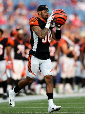 Cincinnati Bengals defensive back Jessie Bates (30) jogs on the field for a play in the fourth quarter during the Week 3 NFL preseason game between the Cincinnati Bengals and the Buffalo Bills, Sunday, Aug. 26, 2018, at New Era Stadium in Orchard Park, New York.