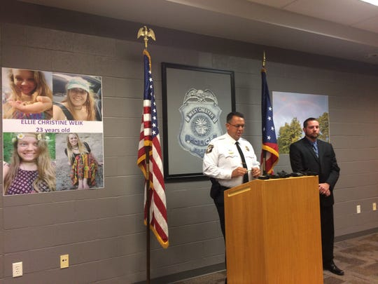 West Chester police chief Joel Herzog speaks to members of the media regarding the death of Ellen Weik.