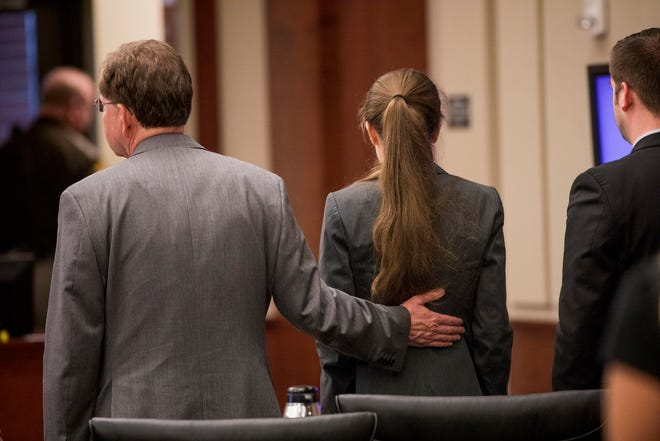 Jurors find Shayna Hubers, 27, guilty of Ryan Poston after five hours of deliberation Tuesday, August 28, 2018 at the Campbell County Courthouse in Newport, Kentucky. Hubers, who was found guilty of murdering her boyfriend Ryan Poston, was granted a retrial after her attorney discovered a juror in the first trial had a prior felony conviction. The juror's 1992 unpaid child support conviction disqualified him from jury duty under Kentucky law.
