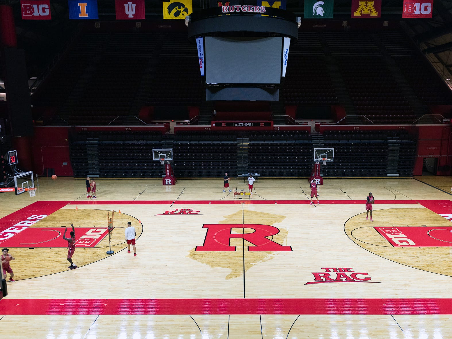 Rutgers Men's Basketball summer practice in preparation for the 2018-19 basketball season takes place on Rutgers Athletic Center's new court.