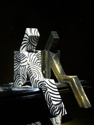 """Spencer Soletto, """"Sitting People,"""" modular sculpture model in painted  wood"""