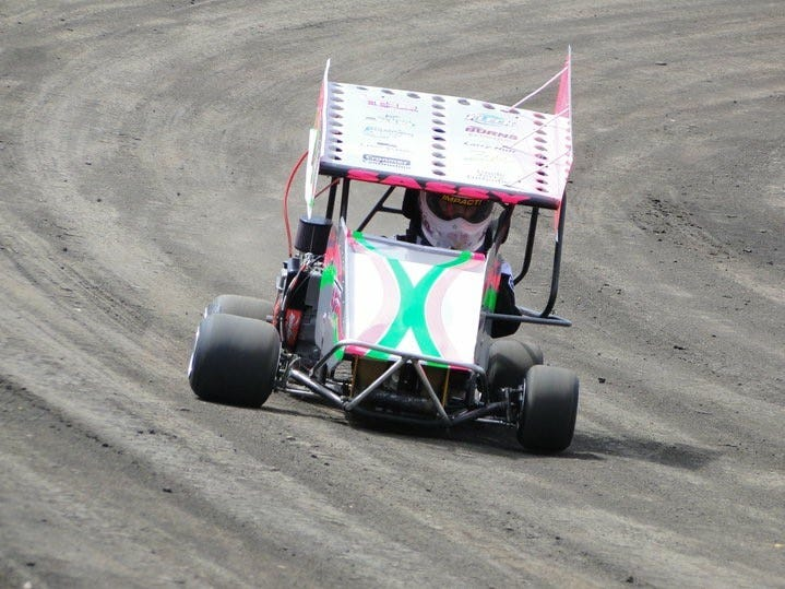 McKenna Haase takes the track at English Creek Speedway in 2010.