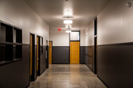 The Phenix School Apartments have retained some elements of its elementary school past including lockers in the hallways, on Monday, Aug. 27, 2018, in West Des Moines' Valley Junction Neighborhood.