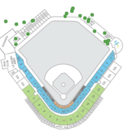 This chart shows each of Kris Bryant's home runs with the Iowa Cubs, overlaid on a seating chart of Principal Park