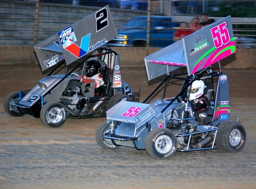 McKenna Haase races her No. 55 mirco sprint car in 2012.