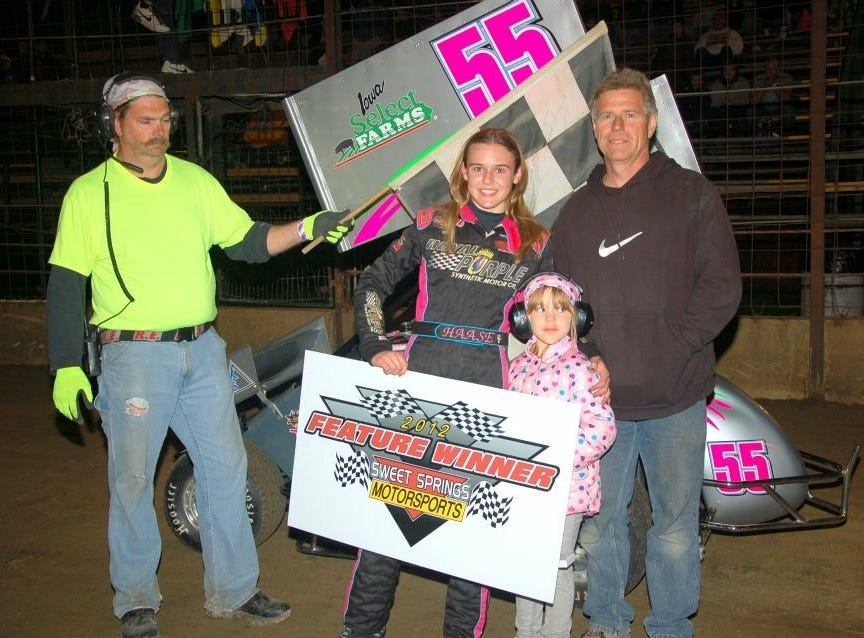 McKenna Haase wins a feature race in her mirco sprint car in 2012.
