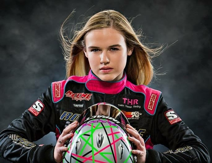 17-year-old McKenna Haase poses for promotional photos for her first season at Knoxville Raceway in 2014