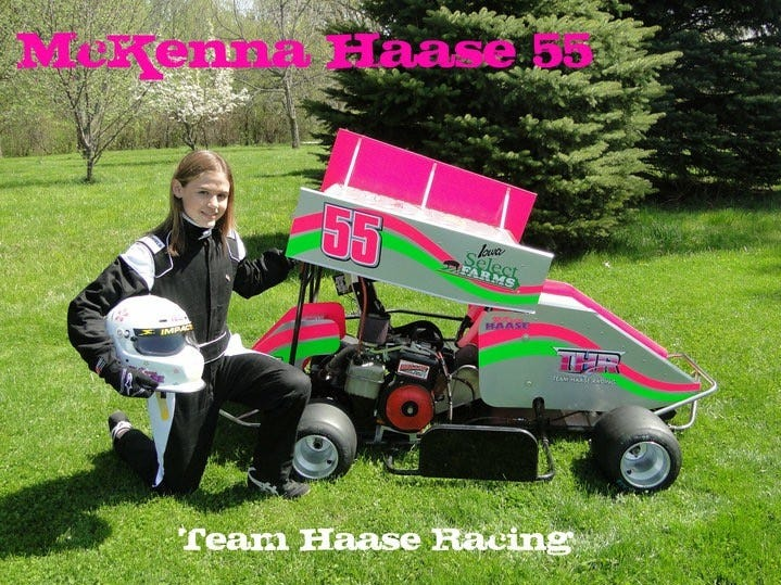 McKenna Haase poses next to her cart for her first year of races at English Creek Speedway in 2010.