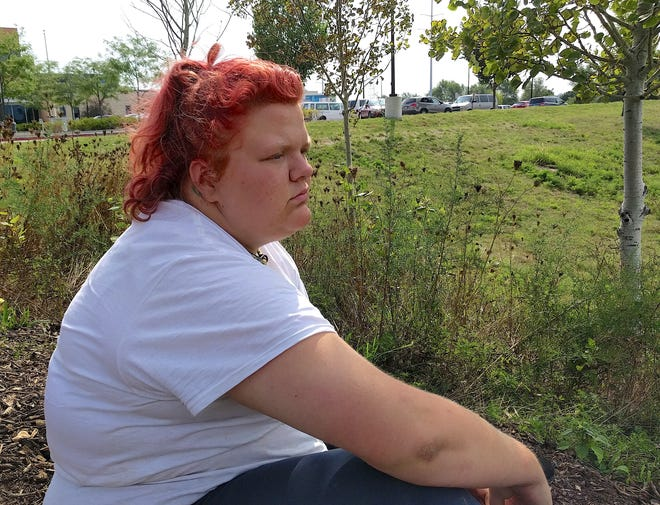 Alexis Ostlund, a homeless woman in Des Moines, says she was sitting on a public sidewalk with a bowl for donations when a police officer approached her and told her what she was doing was illegal.